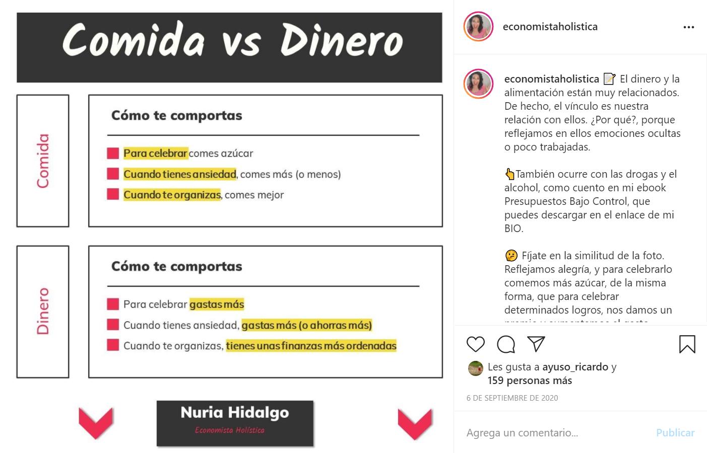 Publicación en Instagram sobre el consumo compulsivo y la comida